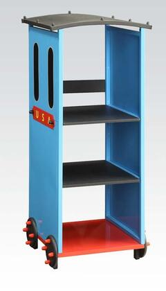 37565 Tobi 3 Tier Bookcase with 3 Shelves  Metal  MDF and PVC construction in Blue  Red and Black