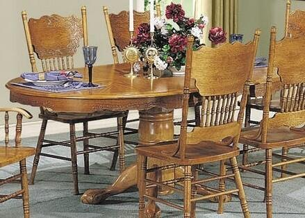 Nostalgia Collection 02186T 48 inch  Pedestal Dining Table with 24 inch  Extension Leaf  Carved Apron  Claw Legs  Rubberwood and Oak Wood Veneer Materials in Oak
