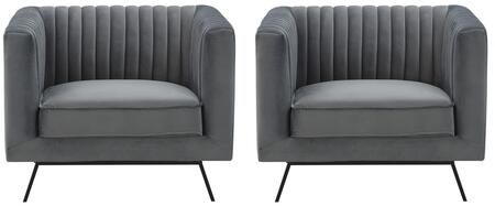 Vandam 2-97B1HL1 2-Piece Armchairs with Metal Splayed Legs  Stitching Details and Velvet Upholstery in Charcoal