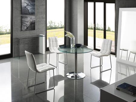 Forte Collection CBT016LSET 5 PC Dining Room Set with Stainless Steel Pedestal Base Dining Table and 4 White Eco-Leather Upholstered Dining