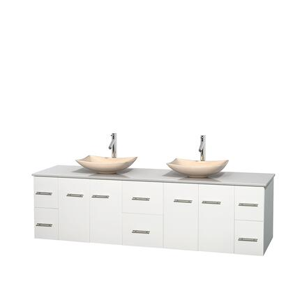 WCVW00980DWHWSGS5MXX 80 in. Double Bathroom Vanity in White  White Man-Made Stone Countertop  Arista Ivory Marble Sinks  and No