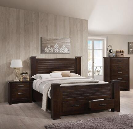 Panang Collection 23364CK3SET 3 PC Bedroom Set with California King Size Bed  Chest and Nightstand in Mahogany