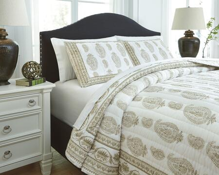 Almeda Q726013Q 3-Piece Queen Size Coverlet Set includes 1 Coverlet and 2 Standard Shams with Voile Block Printing Channel Quilted Design and Cotton Material