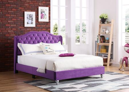 G1932-FB-UP Joy Collection Full Size Upholstered Bed with Button Tufting Details  Velvet Fabric  Turned Legs  and Nail Head Accents  in