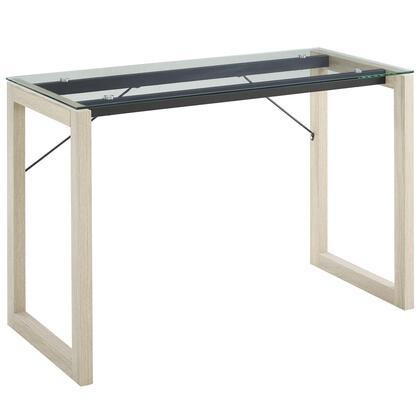 Medley EEI-2783-NAT-CLR Glass Top Writing Desk in Natural