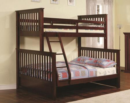 Rockwell Collection Twin Over Full Size Bunk Bed with Fixed Ladder  Slats Design  Solid Hardwood Construction and Wood Veneer Materials in Espresso