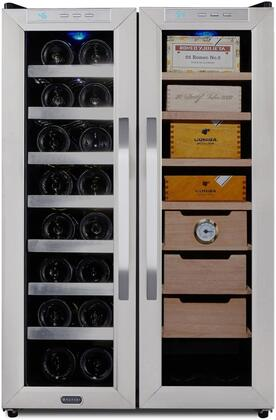 CWC-351DD Wine Cooler and Cigar Humidor Center with 3.6 cu. ft. Capacity  Stainless Steel Trimmed Glass Door  Sleek Black Cabinet  Removable Drawers and