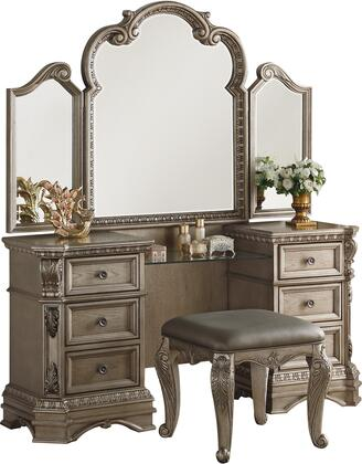 Northville Collection 26940VS 2 PC Vanity Set with Vantiy Desk and Vanity Stool in Antique Champagne