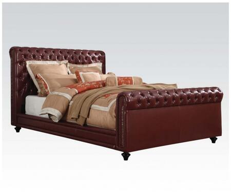 Norris Collection 24347EK King Size Bed with Copper Nail Head Trim  Button Tufting  Wood Legs  Supported Slats and Bycast PU Leather Upholstery in Burgundy