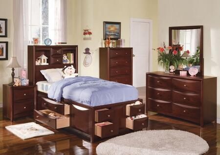 04090TDMCN Manhattan Twin Size Storage Bed + Dresser + Mirror + Chest + Nightstand in Espresso
