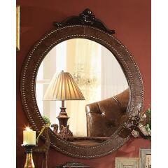 Varada Crescent Collection 25164 37 inch  x 45 inch  Mirror  2-Tone Brown PU & Antique