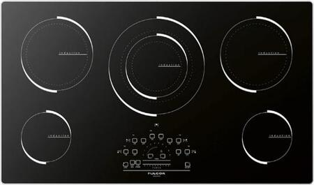 "F6IT36S1 36"" 600 Series Induction Cooktop with 5 Elements 12400 Max. Watts Slide touch control LED display Aluminum Frame and Smooth Glass Construction in"