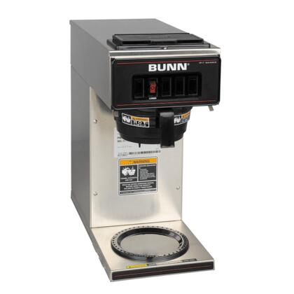 13300.0001 VP17- 12 Cup Low Profile Pourover Brewer with 1 Lower Warmer and SplashGuard Funnel in Stainless