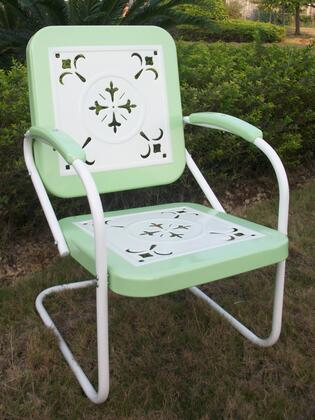 Retro Collection 71340 36 inch  Metal Chair with Decorative Vintage Stamped Design and Square 2-Tone Back and Seat in