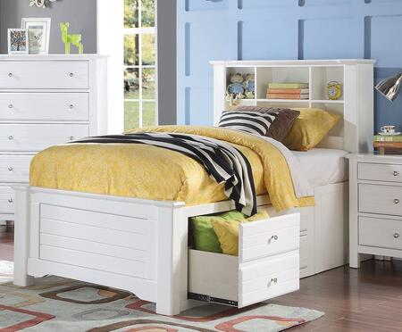 Mallowsea Collection 30420T Twin Size Bed with Storage Rail Drawers  6 Compartment Bookcase Headboard  Low Profile Footboard and Pine Wood Construction in