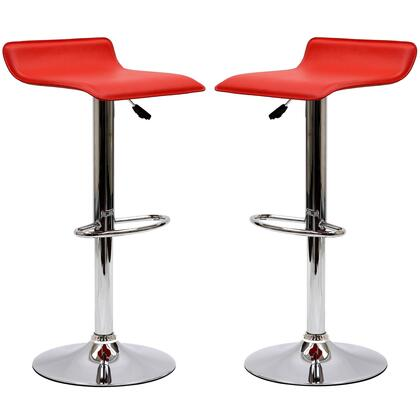 Gloria Collection EEI-937-RED Set of 2 Bar Stools with 360 Degree Swivel Seat  Chromed Steel Base and Leatherette Seat Upholstery in Red