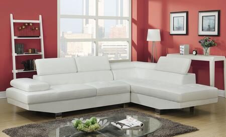 Connor Collection 51960 Sectional with Left Facing Sofa  Right Facing Chaise  Adjustable Headrest  PU Leather Upholstery  Tight Back and Seat Cushions in