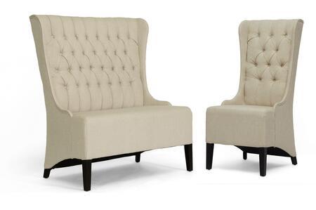 BH-A32387LS/A32386AC Baxton Studio Vincent Linen Modern Loveseat Bench + Chair Set in