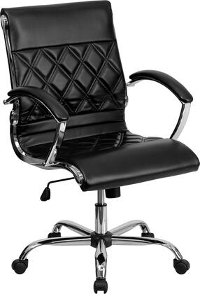 GO-1297M-MID-BK-GG Mid-Back Designer Black Leather Executive Office Chair with Chrome