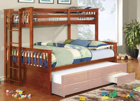 University II Collection CM-BK458Q-OAK-BED Twin Over Queen Size Bunk Bed with 13 PC Slats Top and Bottom  Side Access Ladder  Solid Wood and Wood Veneers