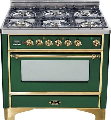 "UM-906-DMP-VS 36"" Majestic Series Dual Fuel Range with 3.55 cu. ft. Oven Capacity  6 Burners  Electronic Ignition  Digital Clock and Timer  and Brass Trim:"