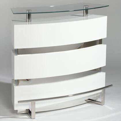 XENIA-BAR-WHT Xenia Contemporary Bar With Glass Top in