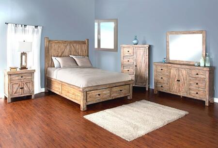 Durango Collection 2307wbsqbdmn 4-piece Bedroom Set With Storage Queen Bed  Dresser  Mirror And Nightstand In Weathered Brown