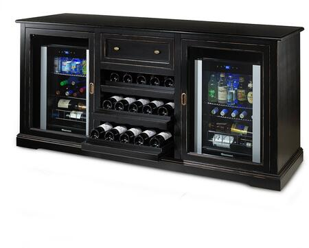3359104 Siena Wine Credenza with Two 28 Bottle Wine Cooler  Three Rolling Wood Shelves  One Spacious Storage Area  and One Deep Rolling Top Drawer  in