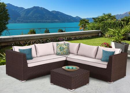 Valeria Collection SUN-6004 4 PC Deep Seating Group with 1 Left End Sectional Sofa  1 Right End Sectional Sofa  1 Corner Sofa  1 Coffee Table and Sectional