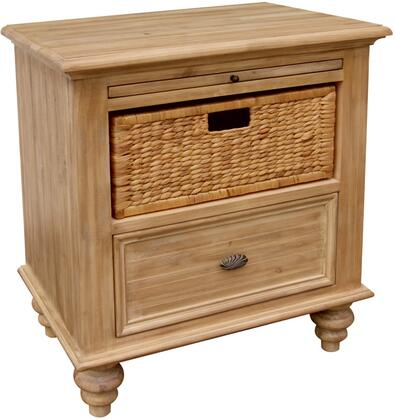 Vintage Casual Collection CF-1236-0252 26 inch  Nightstand with 1 Drawer  1 Basket  Pull-Out Shelf and Molding Details in Plantation