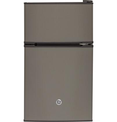 GDE03GMKED Energy Star Qualified Compact Double-door Refrigerator with 3.1 cu. ft. Capacity  Tall bottle door storage  Can rack  2 Glass cabinet shelves and
