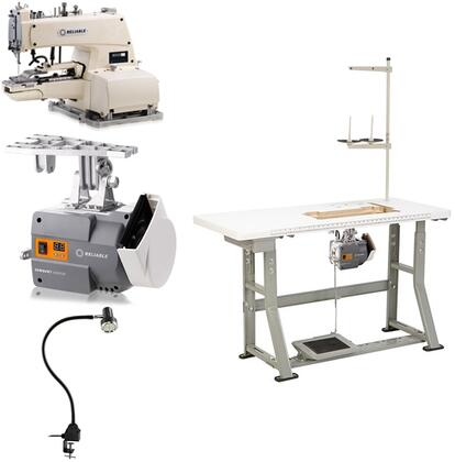 "8000DT Automatic ChainStitch Drapery Tacker Sewing Machine with 1445 RPM  6000SM ServoMotor  UberLight 9000C SMD-LED and Plywood Tabletop with 3/32"" Steel"