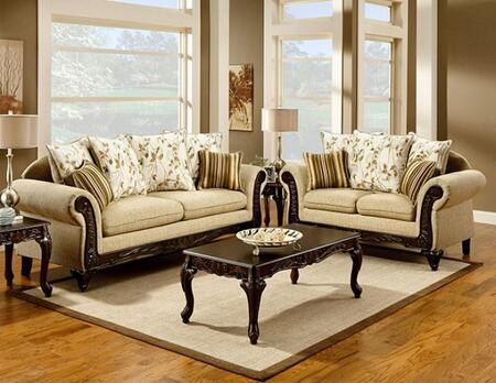 Doncaster Collection SM7435-SL 2-Piece Living Room Set with Stationary Sofa and Loveseat in Tan