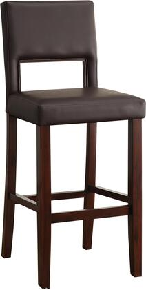 Reiko Collection 96612 30 inch  Bar Chair with Cut-Out Back  Wooden Trim  Espresso Solid Wood Construction and Bycast PU Leather Upholstery in Black