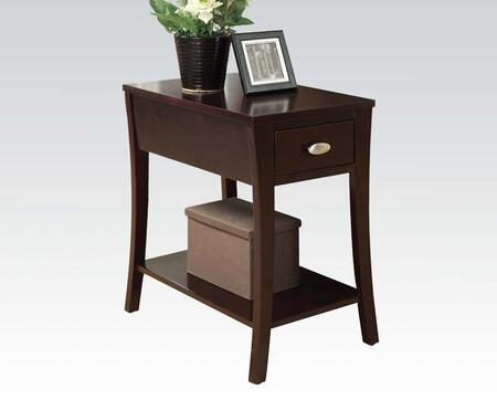 Mansa Collection 80295 14 inch  Side Table with 1 Drawer  Metal Hardware  Bottom Shelf  Flared Legs  Hardwood and Pine Wood Construction in Espresso