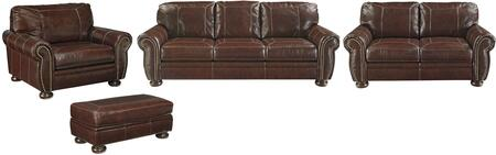 Banner Collection 50404SLCO 4-Piece Living Room Set with Sofa  Loveseat  Chair and a Half and Ottoman in