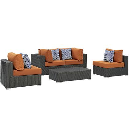 Sojourn Collection EEI-2378-CHC-TUS-SET 5-Piece Outdoor Patio Sunbrella Sectional Set with Coffee Table  2 Armless Chairs and 2 Corner Sections in Canvas