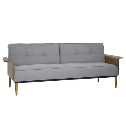 LCMOSOGRAY Monroe Mid-Century Convertible Futon in Gray Tufted Fabric and Walnut
