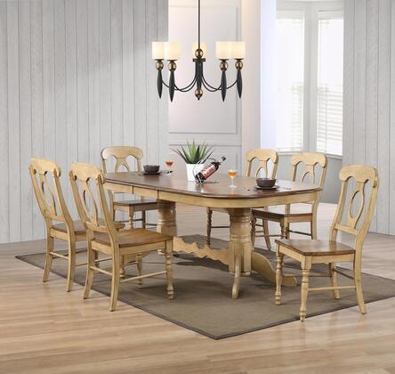 Brook Collection Dlu-br4296-c50-pw7pc 7 Piece Double Pedestal Extension Dining Set With Napoleon