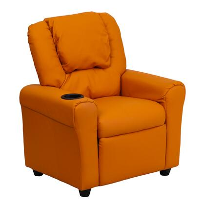 DG-ULT-KID-ORANGE-GG Contemporary Orange Vinyl Kids Recliner with Cup Holder and 295344