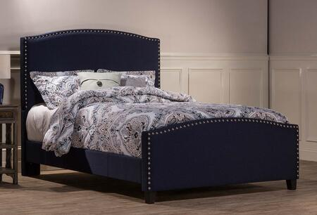 Kerstein Collection 1932BKRN King Size Bed with Headboard  Footboard  Rails  Fabric Upholstery  Decorative Nail Head Trim and Sturdy Wood Construction in Navy