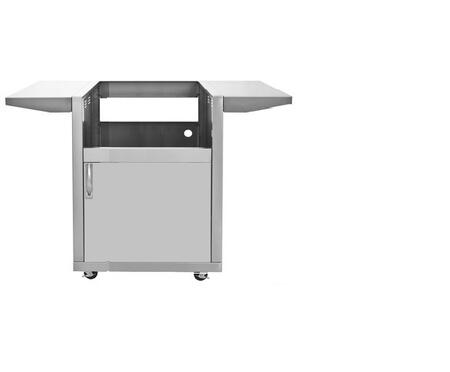 DSGB25 25 inch  Grill Base with Fixed Side Shelves  Access Door  Two Locking Swivel Casters and Two Stationary Casters  in Stainless