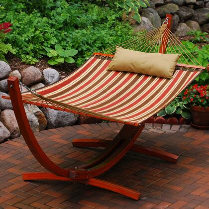 6710160SP 12 Foot Wooden Arc Frame with Quilted Hammock and Matching Pillow in Brown
