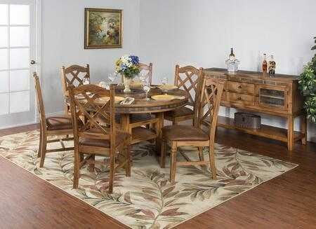 Sedona Collection 1225RODT4CS 6-Piece Dining Room Set with Round Dining Table  4 Chairs and 1 Server in Rustic Oak