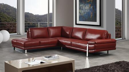 EK-L025 Collection EK-L025R-RED 2-Piece Sectional Sofa with Left Arm Facing Chaise and Right Arm Facing Sofa in