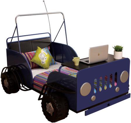 Casper 37285T 82 inch  Twin Size Bed with 7 Metal Slats  Fiberproof Sponge  Car Design  Black PU Back  MDF and Metal Construction in Blue and Black