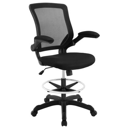Veer Collection EEI-1423-BLK Drafting Chair with 90 Degree Flip-Up Arms  Pneumatic Height Adjustment  Casters  Seat Tilt Tension Control  Nylon Base and Mesh