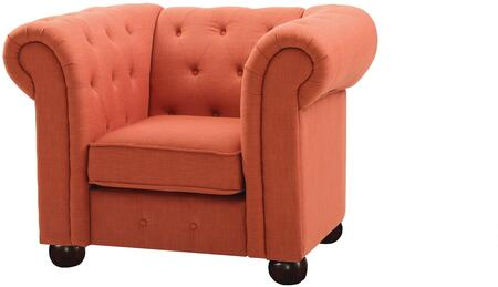 G520-C 48 inch  Armchair with Dacron Wrapped Cushions  Removable Rolled Arms  Bun Feet  Fabric Upholstery  Tufted Back And Front Rail in Orange