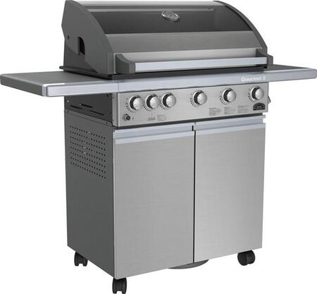 SO5GSS 5 Burner Gas Grill with Rotisserie Kit  80 000 Total BTU's  10 000 BTU Rotisserie Rear Burner  Jet Flame Ignition and Insultouch Hood with Glass Window 185196