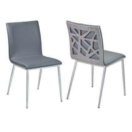 Crystal Collection LCCRSIGRBS Dining Chair in Gray Faux Leather with Brushed Stainless Steel Finish and Gray Walnut Veneer Back - Set of
